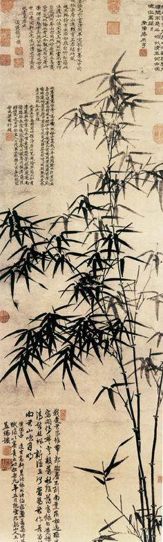王绂 墨竹图 纸本墨笔 台北故宫博物院藏. Wang Fu(王紱; ca. 1362-1416 was a Chinese landscape painter, calligrapher, and poet during the Ming Dynasty (1368–1644).