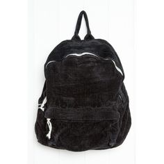 Black Corduroy Backpack ($35) ❤ liked on Polyvore featuring bags, backpacks, knapsack bag, rucksack bags, backpack bags, zip bag and top handle bags