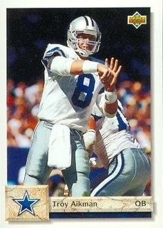 Troy Aikman Football Card (Dallas Cowboys) 1992 Upper Deck #597 by Hall of Fame Memorabilia. $30.95. Troy Aikman Football Card (Dallas Cowboys) 1992 Upper Deck #597. Signed items come fully certified with Certificate of Authenticity and tamper-evident hologram.