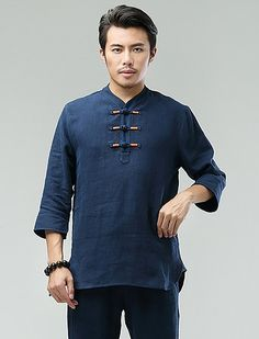 Blue Commoner Chinese Men Casual Han Chinese 3/4 Sleeve Shirt via Asia-Sale Best Tai Chi, Kung Fu Clothing