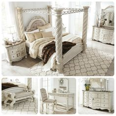 Cassimore North Shore Pearl Silver Upholstered Poster Canopy Bedroom Set Canopy Bedroom Sets