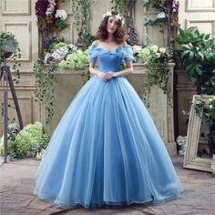 Prom Dresses Blue Ball Gown Off the Shoulder Organza Baile Crystal Flower Corset Party Gowns Vestidos de noche 2017 Dress
