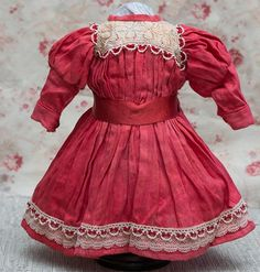 """Vintage Original Red Cotton dress for Jumeau bru Steiner Eden Bebe doll about 23-24"""" (58-61 cm)"""