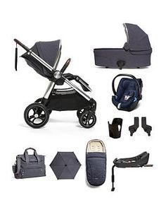 Mamas & Papas Ocarro Cloud Z 9 Piece Complete Bundle - Navy - Navy Traveling With Baby, Traveling By Yourself, All Terrain Pushchair, Changing Bag, Mamas And Papas, Travel System, Small Baby, Bottle Holders, Little Ones