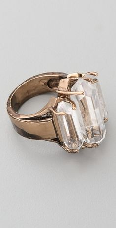 ♡ Low Luv x Erin Wasson, Tripple Crystal Cocktail Ring (natural quartz and 14k gold-plated)