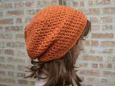 Ready to Ship - Womens Hat - Slouchy Beanie - The Eden in Pumpkin
