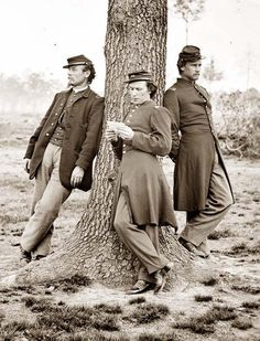 Photograph of three officers, Company C, 1st Connecticut Heavy Artillery. Fort Bradley, Virginia, 1864