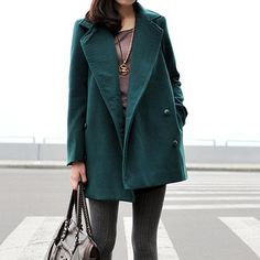Vintage Dark Green Lapel Woolen Coat, #Wendybox