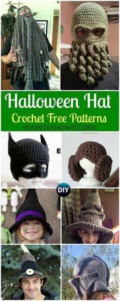 10 Crochet Halloween Hat Free Patterns via @diyhowto