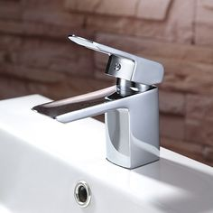 Contemporary Waterfall Ceramic Valve Chrome Finish Bathroom Sink Faucet
