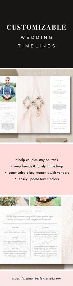 This wedding day timeline template is perfect for photographers & creative professionals as they help couples plan their big day. Keep everything on track & show potential brides a sample timeline that is more than just a plain email or Word doc! Use this design with other vendors to avoid chaos & ensure things go smoothly. Images by Sharon Ku