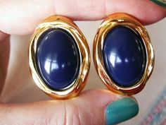 Large Gold Tone Navy Blue Oval Clip On Earrings, 1980's Chunky Jewelry, 80's Dynasty Jewelry by dazzledbyvintage on Etsy