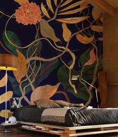 lit récup en palette, chambre à coucher moderne à tapisserie murale végétation tropicale