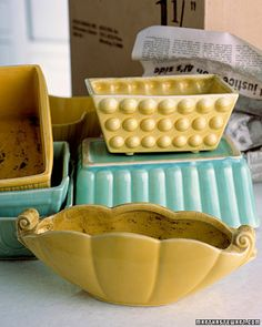 Vintage ceramic planters can be repurposed for just about anything you need to organize!