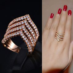 Triangle Cubic Zirconia Chevron Stacking Ring V Layered Tiered Ring Diamond Crystal Geometric Ring Fashion Vintage Party Prom Gift, by AmodeJewelry on Etsy Gold Jewelry Simple, Gold Rings Jewelry, Jewelry Design Earrings, Gold Earrings Designs, Gold Jewellery Design, Silver Rings, Gold Finger Rings, Gold Ring Designs, Fashion Rings