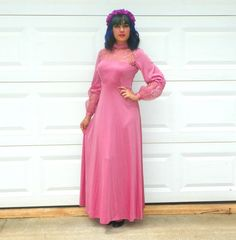 1970s Vintage Dusty Rose Pink Sheer Maxi Dress by Enchantedfuture