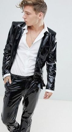 Men In Leather Blazers, Suits, Pants, And Fine Coats Mens Leather Pants, Tight Leather Pants, Leather Blazer, Synthetic Clothes, Leather Fashion, Mens Fashion, Latex Men, Vinyl Clothing, Young Fashion