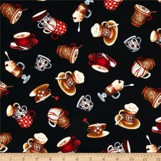 Timeless Treasures Coffee Cups/Mugs Black from @fabricdotcom Designed by Timeless Treasures, this cotton print fabric is perfect for quilting, craft projects, apparel and home décor accents. Colors include red, cream, coffee brown, medium blue and butterscotch on a black background.