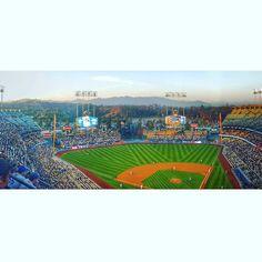 THINK BLUE: Los Angeles Dodgers Baseball Stadium  #nymets #jackierobinson #42 #sunset #santamonica #sangabriel #baseball by neilszoszorek