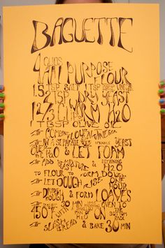 "12.5"" x 19"" hand lettered and screen printed baguette recipe from Flooded Press"