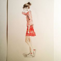 #fashionsketch #fashionillustration #autumncollection for @supermarketstore #red #skirt #stripes #polishbrand #polishgirl #inksketch #instaart #instafashion #drawingoftheday #doodle