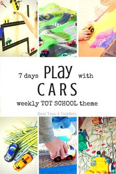 Best Toys 4 Toddlers - Weekly Tot School Theme: CARS - play activities for 7 days (with free printable planner) Car Activities, Movement Activities, Preschool Activities, Daily Activities, Toddler School, Tot School, Toddler Fun, Play Based Learning, Learning Through Play