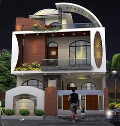 The exterior is the face of the house that everyone will see in the first part. Take a look at the world's most beautiful modern homes and find Front Wall Design, Exterior Wall Design, Facade Design, House Outside Design, Small House Design, Model House Plan, House Plans, Modern Villa Design, Bungalow House Design
