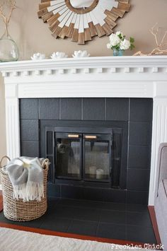 Fireplace tile (mini) facelift with Paint … – Fireplace tile ideas Paint Fireplace Tile, Tile Around Fireplace, Fireplace Tile Surround, Fireplace Update, White Fireplace, Fireplace Remodel, Diy Fireplace, Living Room With Fireplace, Fireplace Surrounds