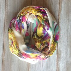 Multicolor Silky Sunflower Infinity Scarf by TheBlueDodo on Etsy