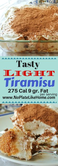 This easy recipe for a tasty and light version of Tiramisu uses Angel Food cake, Neuchatel cream cheese, Cool Whip Lite, Espresso, Coffee Liquor, Vanilla and cocoa powder. Pin for later!