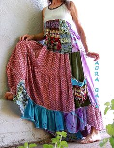 AuraGaia ~SummerBliss~  Boho Hippie Tiered Sun Dress OverDyed Upcycled XS-S #AuraGaia #Maxi #Casual