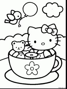 Hello Kitty Tea Cup Coloring Pages