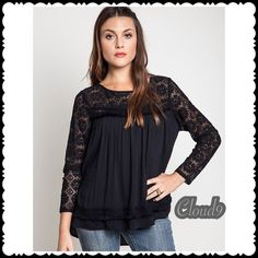 Simply Classic Black Lace Blouse NEW Style staple ~ Gorgeous Black Lace Blouse with open closure back. Sizes available : SMALL .Please DO NOT BUY THIS LISTING but comment on size needed & I'll create separate listing. Brand new no tags. Price firm unless bundled. NO PP AND NO TRADES!!! Cloud 9 Tops Blouses