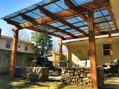 Cedar pergola, polycarbonate roof panels