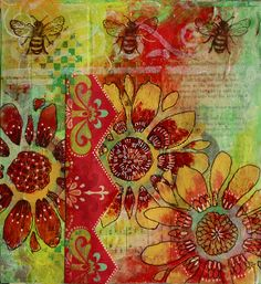 Gelli Art using every colour in the box