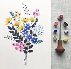 When I come back I want to change a lot of things with my shop. No more making prints when they are ordered. But a small edition of each print. I want to focus more on one of a kind pieces also like this. Would you guys like to see more bouquets like th Watercolor Cards, Watercolor Flowers, Watercolor Paintings, Watercolors, Illustration Blume, Stamp Carving, Creation Deco, Motif Floral, Floral Illustrations
