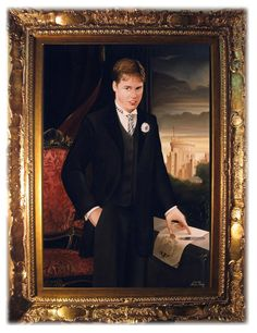 HRH Prince William of Wales on his eighteenth Birthday. 2000. Oil portrait by Albert Edwin Flury.  SAR il Principe William d'Inghilterra ai suoi diciotto anni. Olio su tela di Albert Edwin Flury. A.D. 2000