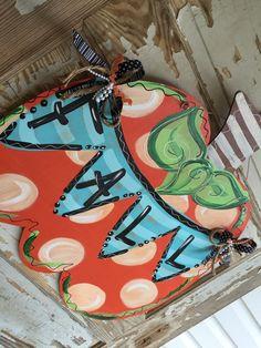 Fall Pumpkin Halloween Door Hanger by queensofcastles on Etsy