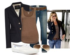 """Jennifer Aniston Style"" by lklein23 on Polyvore - have always loved the whole jeans and blazer combo"