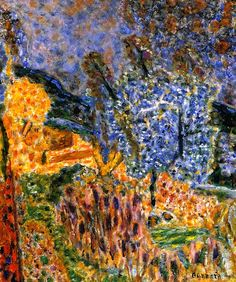 Cannet Landscape circa 1946. Pierre Bonnard.  Le Cannet landscapes and the southern light were unending sources of inspiration for him. It was during this period, lasting almost 22 years, that he painted his most inspired pictures; those that experts agree are his finest works.