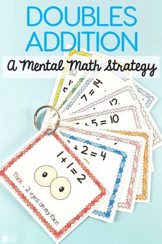 Doubles addition strategy games and activities are perfect for your first grade and second grade students. Teach the strategy with the anchor chart and use engaging worksheets and fun hands on games to provide practice. #doubles #math #mathgames #additionstrategies #firstgrade #doublesfacts