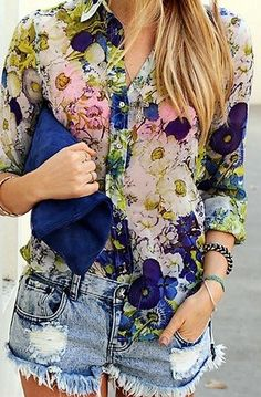 GIVE ME THIS OUTFIT This is amazing! destroyed denim cutoffs, floral print button down blouse