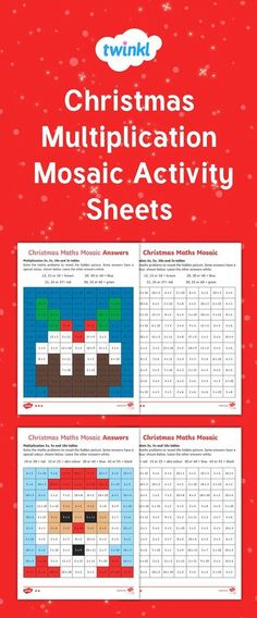 These are fun math activity sheets that your students will love! Get them to solve the equations and unlock the colour needed to fill in the square. The more they solve, the more of the picture they reveal. Math Sheets, Activity Sheets, 4th Grade Multiplication, Christmas Math Worksheets, Christmas Mosaics, Christmas Coloring Sheets, Teacher Tools, Math Tools, Theme Noel