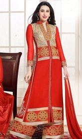Karisma Kapoor Red Color Embroidered Georgette Palazzo Suit #bollywoodindiandresses #bollywooddesignersuits2017 Lend an absolute charismatic look as Karisma Kapoor dressed in this red color embroidered georgette palazzo suit. The enticing lace, resham and stones work a substantial characteristic of this dress.  USD $ 73 (Around £ 50 & Euro 55)