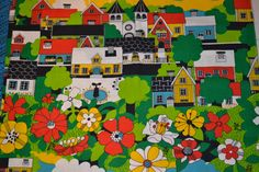 Retro swedish fabric design Almedahls 70s by Scandinaviavandesign, $30.77