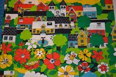 Retro swedish fabric, design probably Ulla Bodin Almedahls wall textile, children's room Textile Prints, Textile Design, Fabric Design, Fabric Patterns, Print Patterns, Graphic Design Pattern, Retro Fabric, Gorgeous Fabrics, Craft Materials