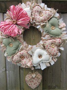 fabric heart wreath x