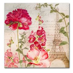 Trademark Art 'Always Paris II' by Color Bakery Graphic Art on Wrapped Canvas Artist Canvas, Canvas Art, Canvas Size, Decoupage Paper, Red Poppies, Poppy Flowers, Botanical Art, Vintage Paper, Vintage Flowers