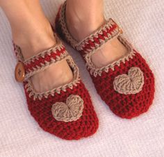 Crochet Slippers  Red with Light  Brown Heart and by EvasStudio, $14.00