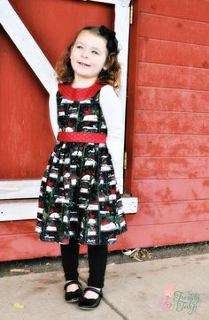 Kellie Padilla of www.facebook.com/Thetrendytulipshop/ made a beautiful winter-themed Pretty Party Dress for her little cutie! So sweet! Fabric from www.facebook.com/JoAnn. PDF sewing pattern designed by Mummykins and Me. Available for instant download at www.rebecca-page.com. Perfect for all those holiday parties coming up, the Child's Pretty Party Dress has lots of options so you can dress it up or down!